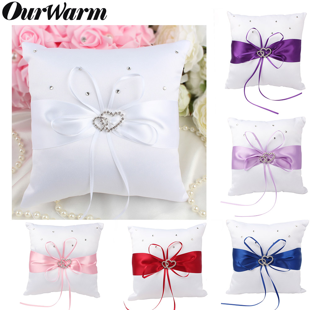 OurWarm 20x20cm Wedding Ring Pillow Double Heart