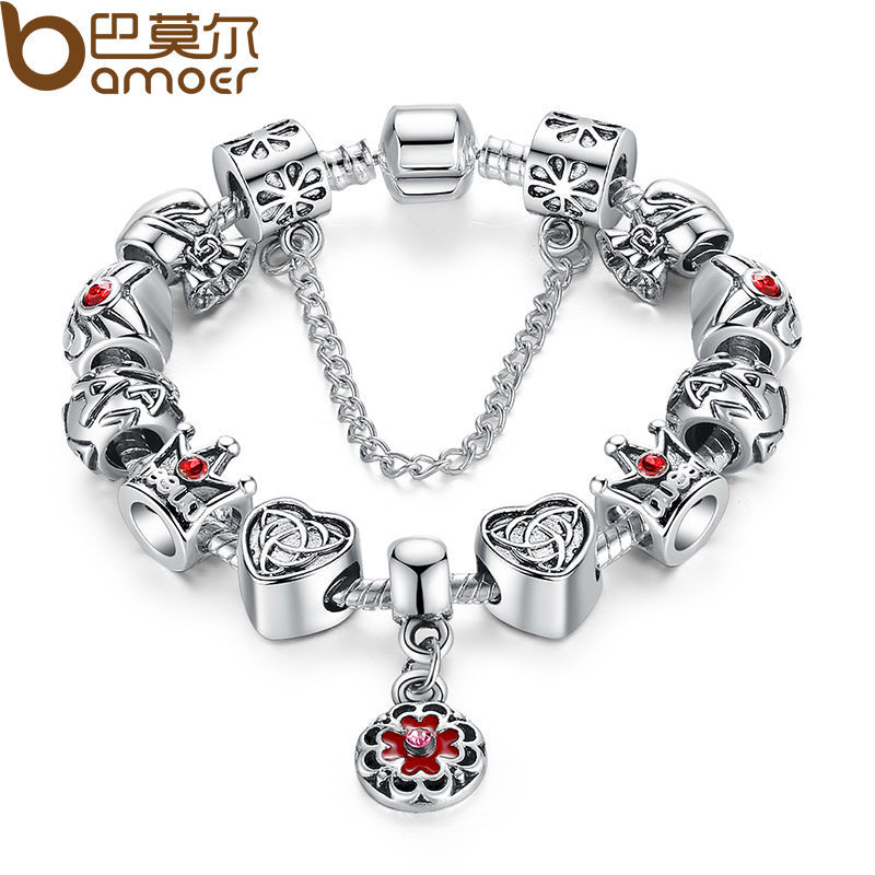 BAMOER Vintage Heart Crown Bead Charm Bracelet Silver for Women Original Safety Chain Jewelry PA1430 klh9359 dog tag stype my fur angel pet urn necklace for ashes memorial keepsake cremation pendant funnel gift