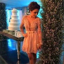 Vestidos с длинным рукавом V образным вырезом Кружева Аппликация Короткие вечерние платья для свадьбы коктейльное на заказ