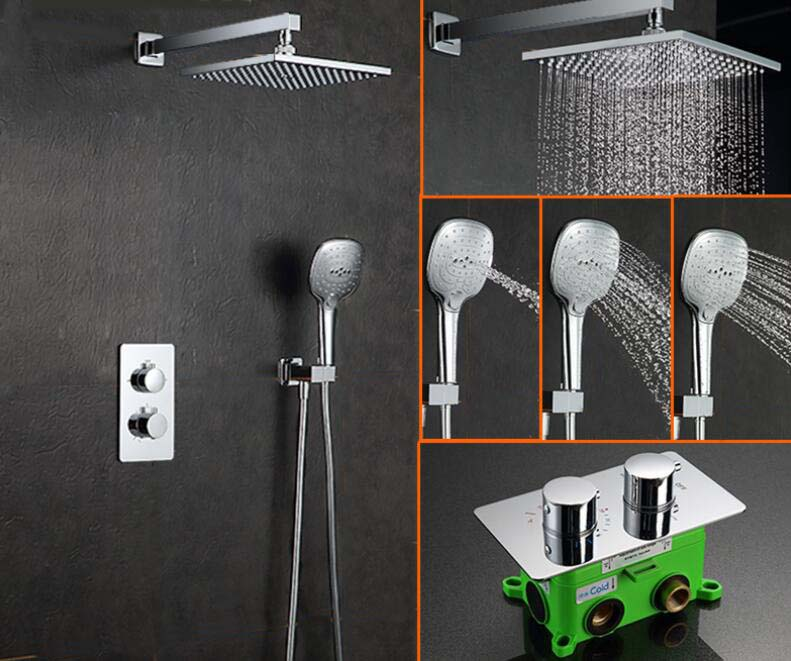 Free shipping In-Wall Faucet Two Functions Embedded Box Thermostatic Mixer Valve 10 inch Shower Set with Shower Head SS052 china sanitary ware chrome wall mount thermostatic water tap water saver thermostatic shower faucet