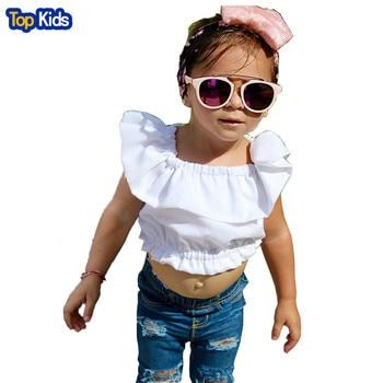 2Pcs Baby Girl Kids Summer Clothing Set Crop Tops Tank Top T-shirt Clothes+Blue Ripped Jeans Pants Baby Girls Fashion MCC019 1