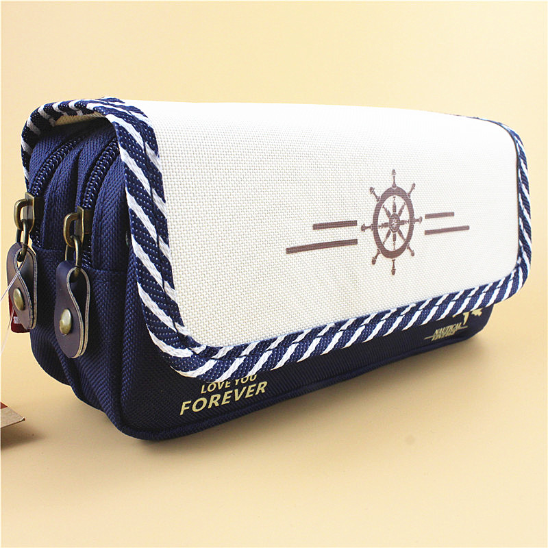 Creative Cute Simple Canvas Multi-Layer High Capacity Pencil Bag Students Pencil Case School Penalty Chancery Estuche Escolars canvas multi layer function camouflage creative simple large capacity pencil case oxford school stationery bag with gift