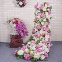 2.1 Meter long Luxury Wedding Flower table runner Artifical Silk Flower Backdrop Wedding Decoration