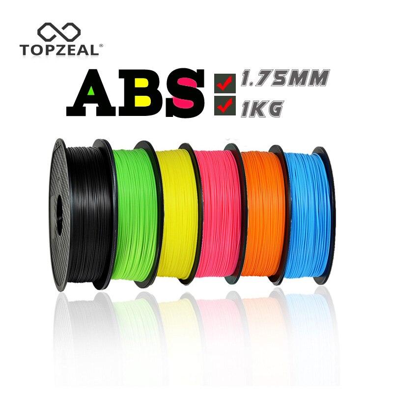 TOPZEAL 3D imprimante Filament ABS 1.75mm précision dimensionnelle +/-0.02mm 1 KG 343 M 2.2LBS 3D matériau d'impression plastique pour RepRap