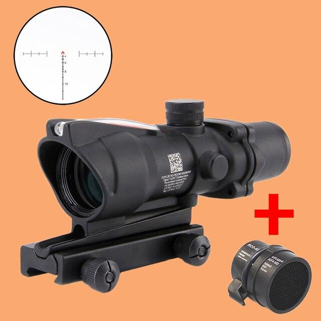 1cec89e83f Lunette de chasse ACOG 4X32 réel point rouge vert Fiber optique vue  Chevron/réticule croisé