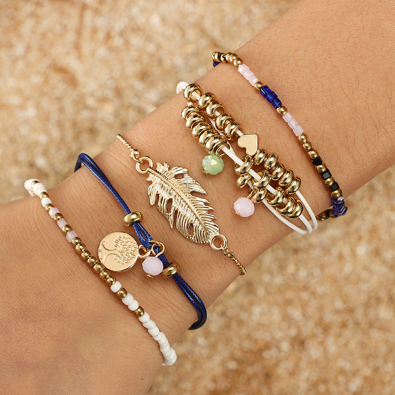 docona Bohemian Tree Leaf Beads Bracelet Bangles Set for Women Metal Charms Adjustable Bracelet Set Pulseiras 5pcs/1set 5998