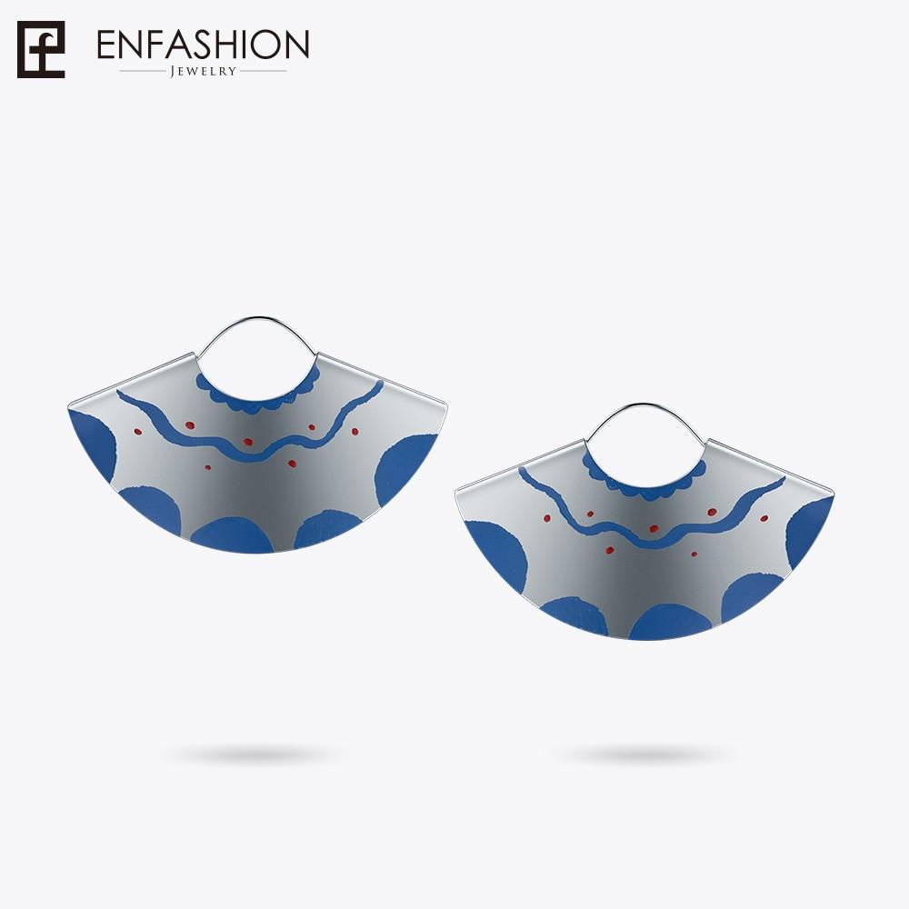 Здесь продается  Enfashion Lacquer Art Series Frilly Skirt Drop Earrings Fan Shape Big Silver color Earrings for Women Earing oorbellen EBQ18LA51  Ювелирные изделия и часы