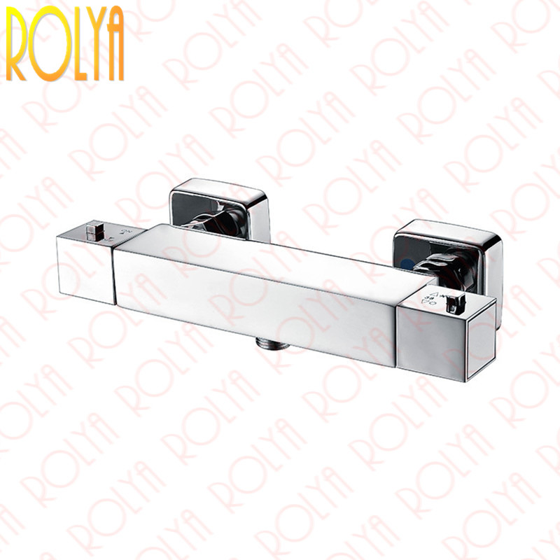 Rolya Cubix Wall Mounted Thermostatic Bath Shower Mixer Faucet Control Chrome Solid Brass