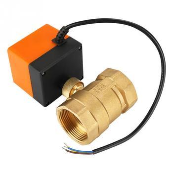 Zawór kulowy 2 Way 3 drut mosiężny napędzany zawór kulowy zawór elektryczny AC 220 V DN40 G1-1 2in zawór solenoidowy wody zawór tanie i dobre opinie Motorized Ball Valve Brass Fdit