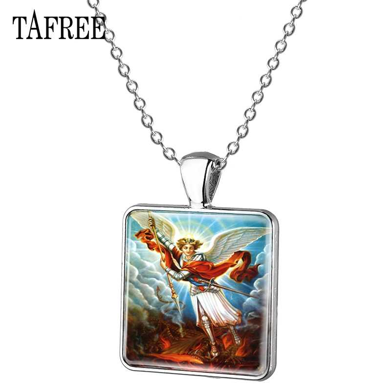TAFREE New Trendy Saint Michael Michaelmas Square Pendant Necklace Charming Picture Glass Cabochon Exquisite Jewelry MC11