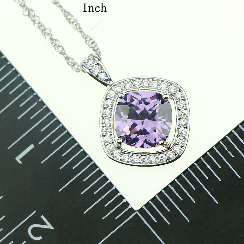 Purple Cubic Zirconia White Rhinestones Jewelery Sterling Silver 925 Jewelry Sets Earrings/Pendant/Necklace/Ring For Women Party