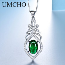 UMCHO Real 925 Sterling Silver Necklace Created Oval Emerald Gemstone Classic Necklaces & Pendants For Women Gift With Chain