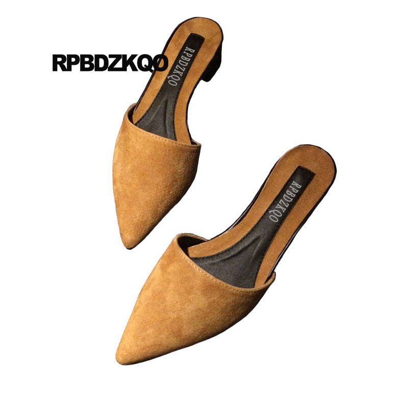 Womens Mid Block Heel Pointy toe Fashion Slippers Shoes Mules Sandals Slip on SZ
