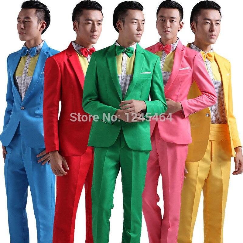 6 색 (빨간색 노란색 파란색 녹색 정장) 남자 웨딩 드레스 신랑 턱시도 호스트 emcee 스튜디오 테마 의상 정장 (재킷 + 바지 + 나비 넥타이)