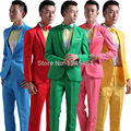 6 colors(red yellow blue green suit)Men's Wedding Dress Groom Tuxedos host emcee studio theme costumes suit(jacket+pant+bow tie)