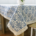 Retro Blue and White Table Cloth with Lace Cotton Print Chinese Style Rectangular Dinning Tablecloth Wedding Party Home Decor