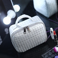 2017 Necessaire Women Make Up Organizer Portable Woven Cosmetic Bag PU Leather Wash Toilet Bag With Hand Strap Clutch Bag