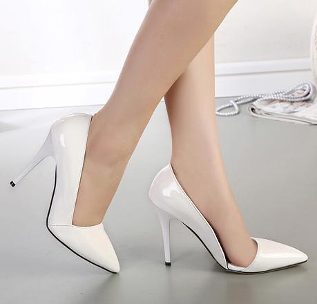 d095288dee0 sexy white patent leather pumps women shoes pointed toe D orsay shoes  office shoes size 35 to 40