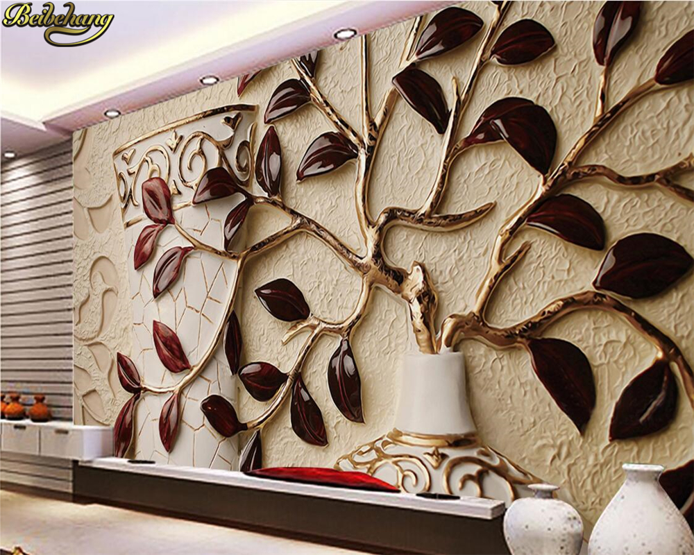 Beibehang Custom Photo Wall Mural 3d Wallpaper Luxury: Beibehang Custom Photo Wallpaper Mural 3D Leaf Relief