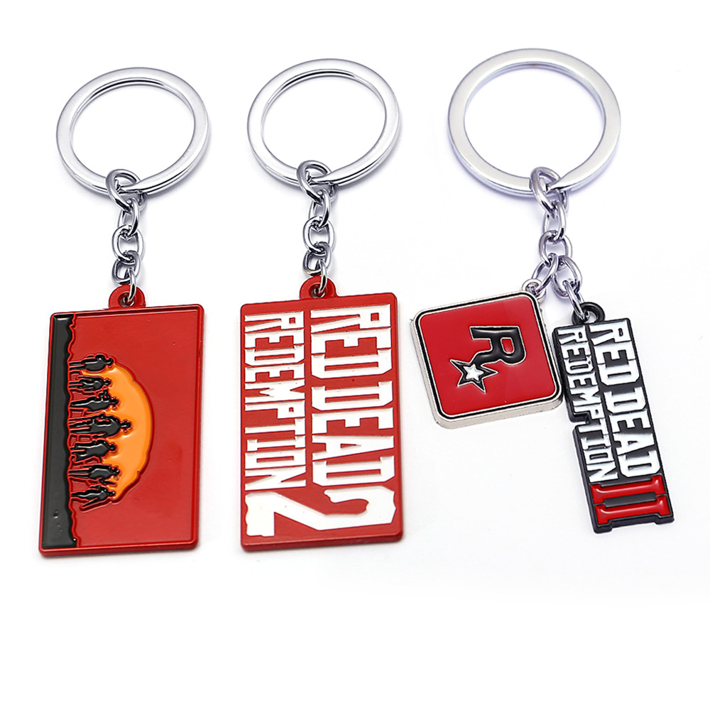 Hot Game Red Dead 2 Redemption Keychain Keyrings Men Car Key Chain Revolver Gun Shape Toy Metal Fashion Bag Charms