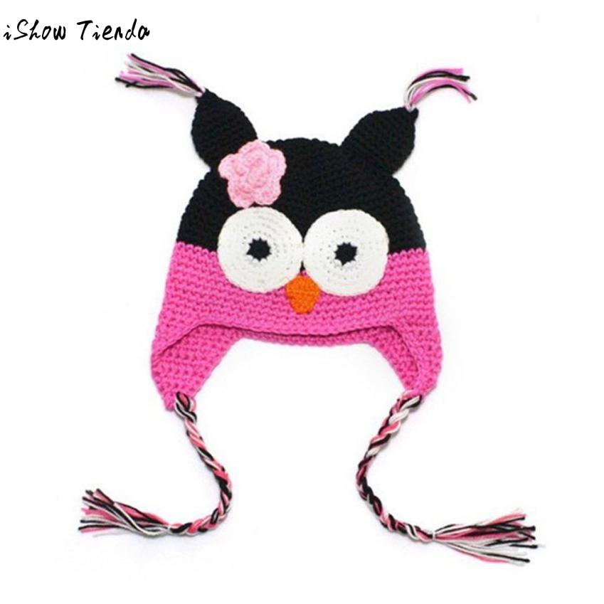 Bebé sombrero lindo patrón de búho de punto Gorro Crochet Newborn ...