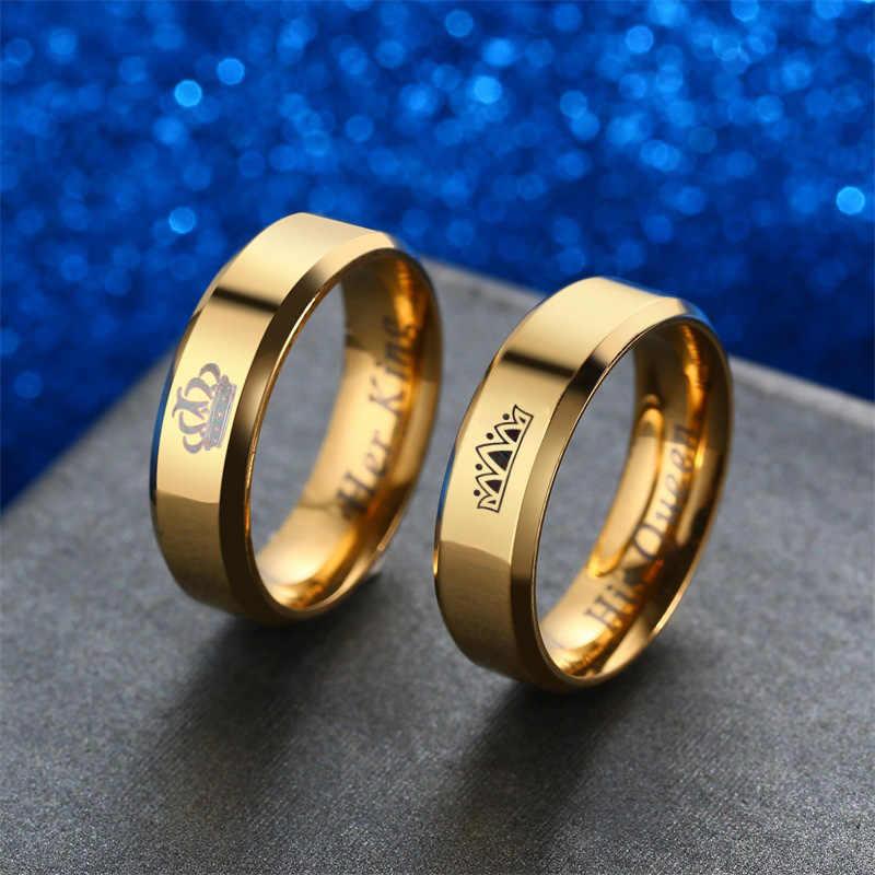 V. יה כתר חתונה לנשים שלו מלכת & שלה מלך גברים תכשיטי זוג שחור זהב צבע נירוסטה טבעות זרוק חינם
