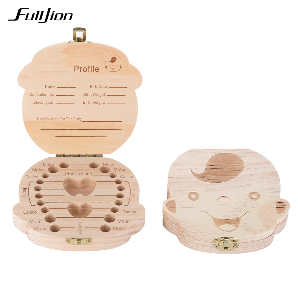 Fulljion Tooth Box Baby Organizer Save Milk Teeth Wooden Box Container Storage Toy Collecting Lanugo hair Safe Wood Storage Gift