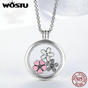 Image 3 - Hot Sale 100% 925 Sterling Silver Floating Medium Pendant Necklaces Fit 7 Style Petite Charms For Women DIY Jewelry CRF001