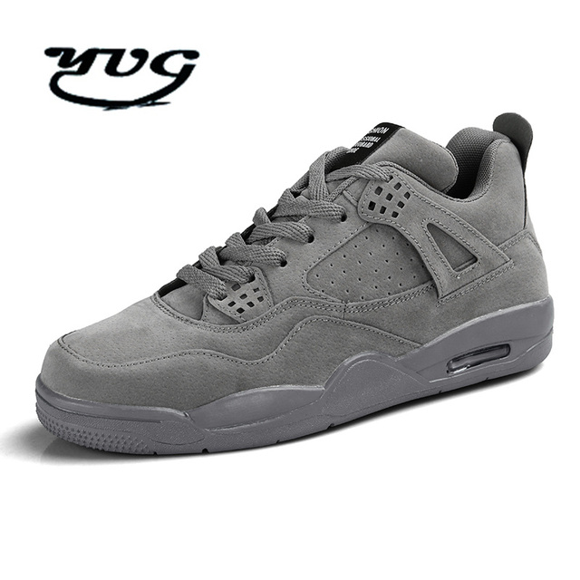 e25ceeb717 Men Shoes Trainers Grey Black Authentic Basketball Shoes Classic Shoes  Retro Comfortable Men Shoes High Top Outdoor Sneakers-in Basketball Shoes  from ...