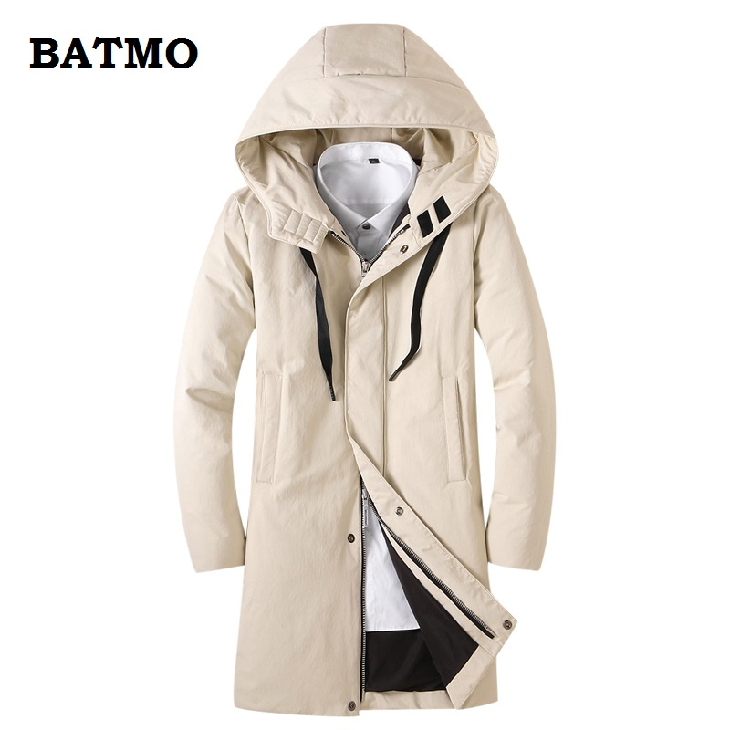 BATMO 2018 new arrival winter high quality warm 80% white duck   down   hooded jakcets men,winter men's   coat  ,plus-size YY1856