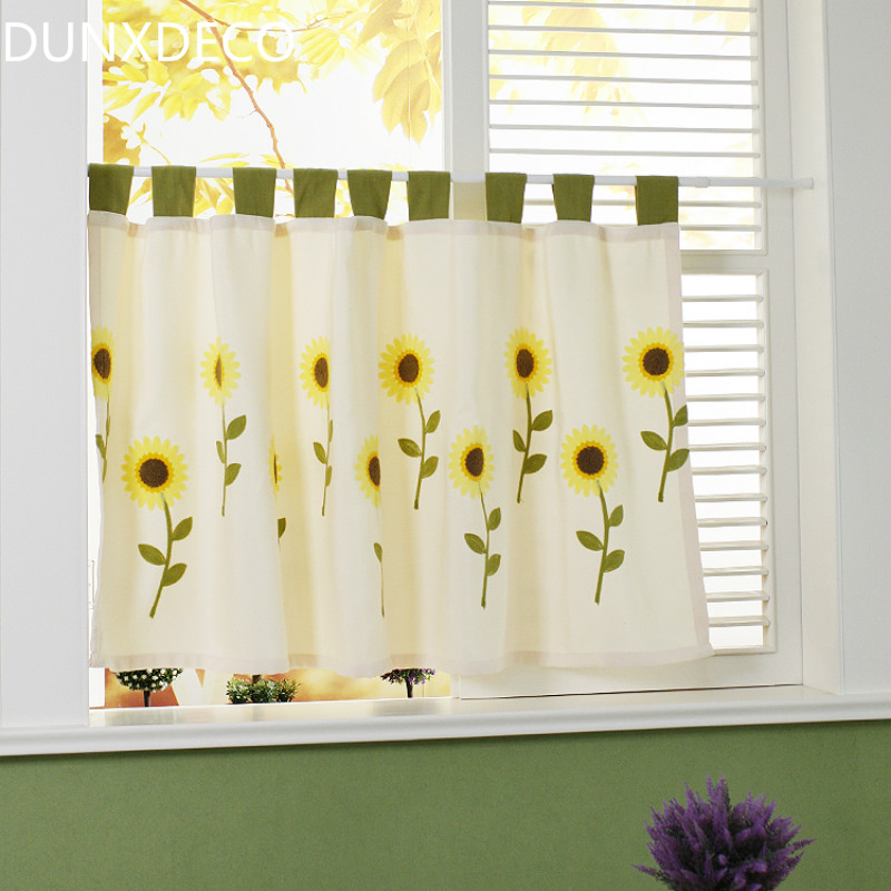 Online Shop DUNXDECO Short Curtains For Kitchen Half Cortinas Country Style  Shiny Warm Yellow Sunflower Embroidery Door Rideau Store Decor | Aliexpress  ...