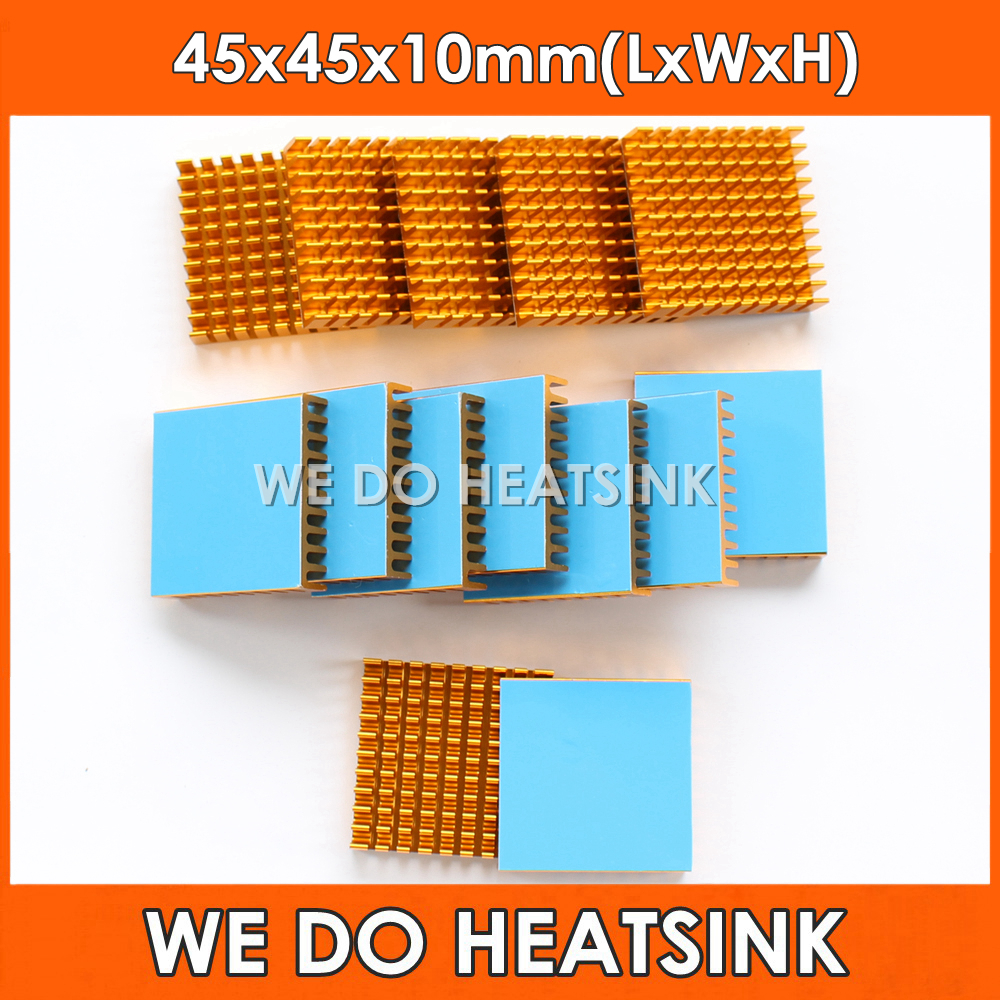 WE DO HEATSINK 2pcs DIY 45*45*10mm Heatsink Cooling Aluminum Heat Sink Radiator Cooler for LED With Blue Thermal Tape On 1u server computer copper radiator cooler cooling heatsink for intel lga 2011 active cooling