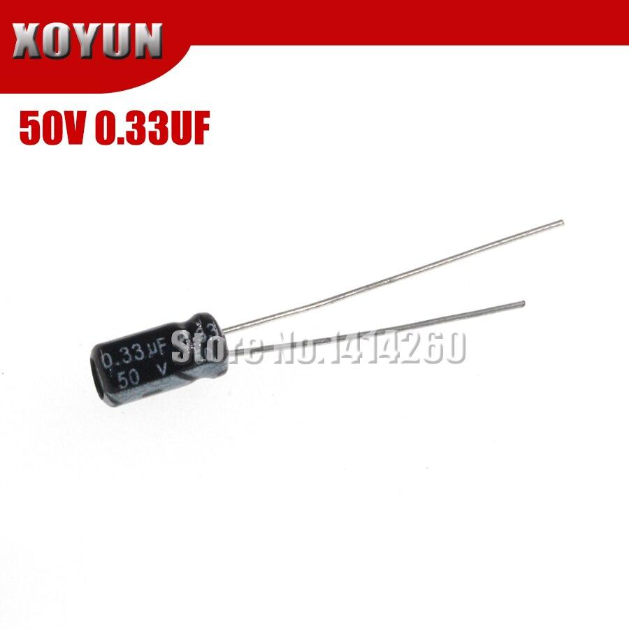 50 шт., качественный электролитический конденсатор 50V0.33UF 5Х11 мм 0,33 мкФ 50В 5Х11
