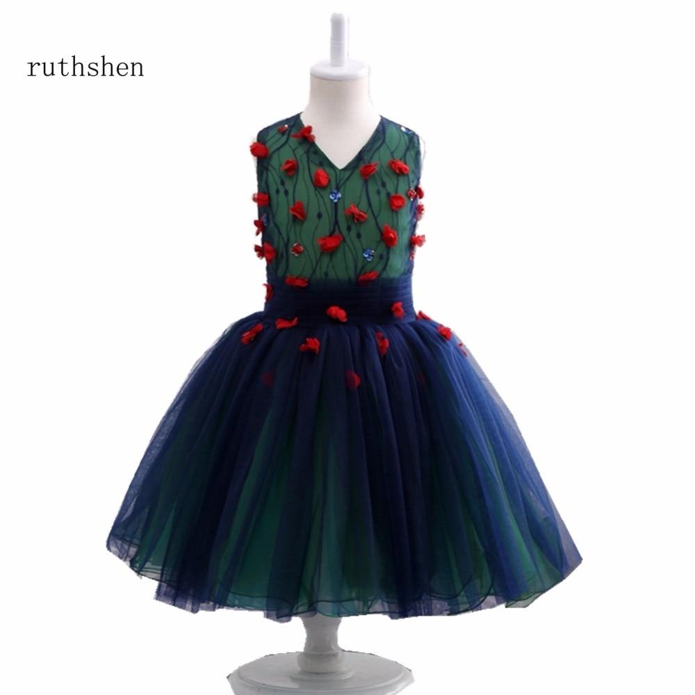 ruthshen Sweetie Red Little   Flowers   A line Sleeveless V Neck   Flower     Girls     Dress   For Wedding Party Birthday 2018