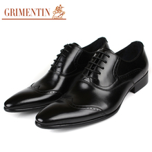 2017 Newest GRIMENTIN fashion vintage carved men oxford shoes black genuine business leather shoes men casual for office wedding 207
