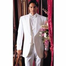 Fashion Style Two Button White Groom Tuxedos Groomsmen Men's Wedding Prom Suits Bridegroom (Jacket+Pants+Vest+Tie) K:963