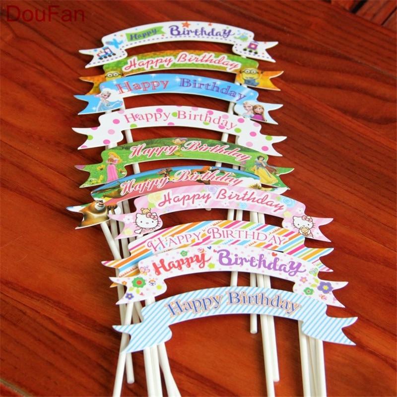 DouFan 5pcs Rainbow Colorful Happy Birthday Cake Topper Paper Banner - Святкові та вечірні предмети