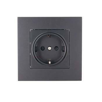 Negro/oro 16A UE hembra 86*86mm PC Panel de la toma de corriente de pared estándar enchufe de pared