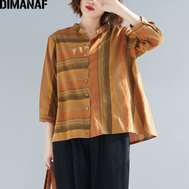 DIMANAF Plus Size Women   Blouse     Shirts   Lady Tops Linen Striped Vintage Loose Female Clothes 2019 Spring Summer Casual Cardigan