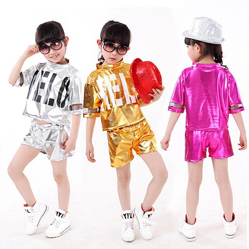 Silver Gold Children Girl Boy Performance Flashing Hip Hop Jazz Modern Dance Suit Costume Pants