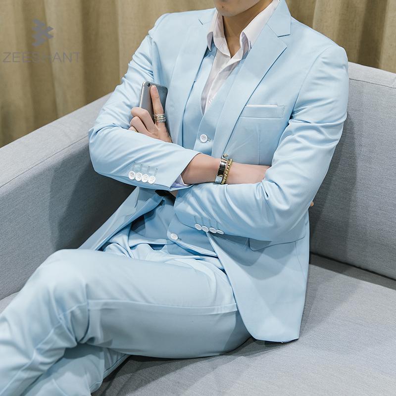 ZEESHANT Men Green Party Suit Slim Fit New Fashion Purple and White Wedding Suit Men 10 Colors 3 Pieces Suits Plus Size 5XL 6XL