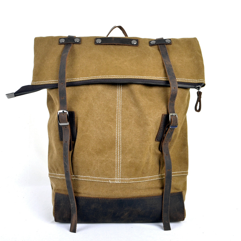 High Density Canvas Bag Double Shoulder Bag Retro Crazy Horse with Canvas Men & Women Outdoors Travel Backpack canvas bag retro backpack travel bag tide cool men and women student bag washing water with crazy horse leather bag