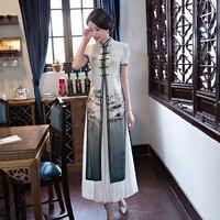 High Quality Twinset Ladies Print Silk Vietnam Ao Dai Dress Satin Long Cheong Sam Casual Dress