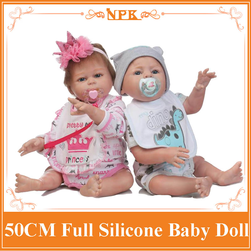 NPK 50CM Lifelike Full Body Silicone Baby Reborn Doll Adorable Reborn Baby Boy&Girl Doll Kids Bathe Toy For Girls Gift Brinquedo christmas gifts in europe and america early education full body silicone doll reborn babies brinquedo lifelike rb16 11h10