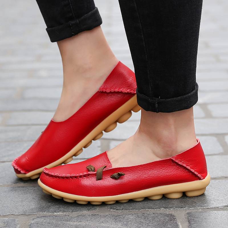 Women Shoes Moccasins Loafers Slip On Round-Toe Genuine-Leather Casual Fashion Nurse