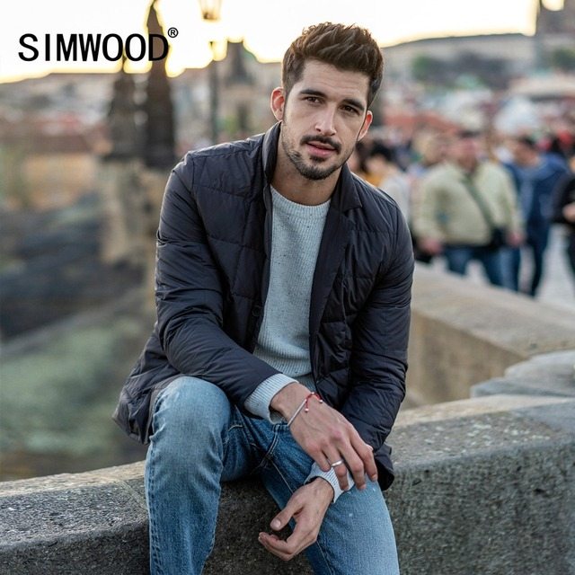 SIMWOOD 2018 Winter Jackets For Men Brand Coats 90% Grey Down Fashion Casual Outwear Plus Size Warm Men's Down Jacket 180296