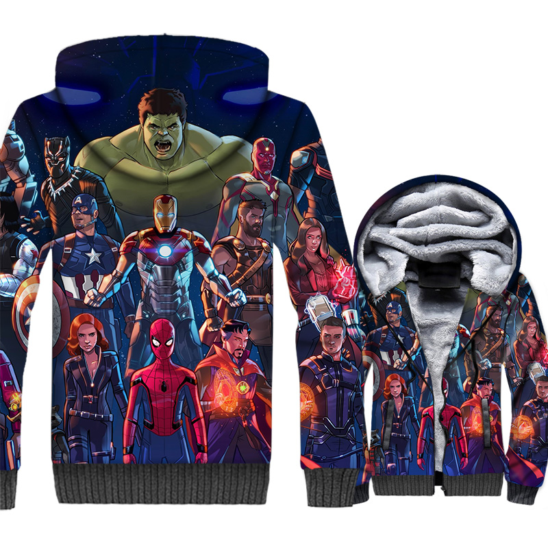 New's The Avengers Jacket 3D Print Movie Hoodie Men Super Hero Sweatshirt 2018 Winter Thick Fleece Warm Spider Man Coat Mens