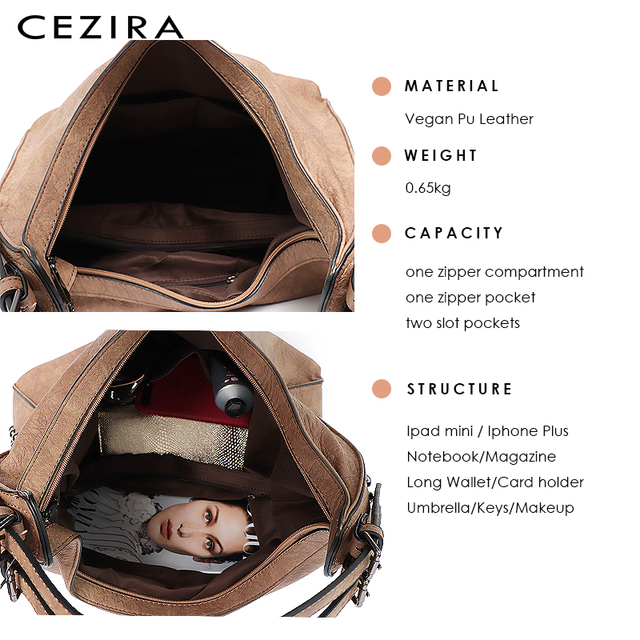 CEZIRA Brand Fashion Shoulder Bags for Women 2018 Designer Casual Big Tote Handbag Female Zipper Studs Pu Leather Ladies Purse 4