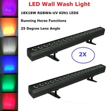 2Pcs LED Bar 18X18W RGBWA-UV 6IN1 Led Wall Wash Light DMX Led Bar DMX Line Bar Wash Stage Light With Running Horse Functions Dj цена