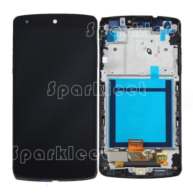 ЖК-Экран Для LG D820 D821 Google Nexus 5 ЖК ЖК-Дисплей + Сенсорный Экран Планшета Ассамблея + Передняя Корпус Рама Бесплатная Доставка